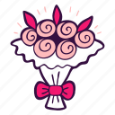 bouquet, wedding, roses, bridal, flowers, florist icon