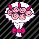 bouquet, bridal, florist, flowers, roses, wedding icon