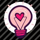 bulb, creative, heart, idea, lamp, light, love