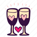 toast, wedding, glass, drinks, stemware, champagne, party icon