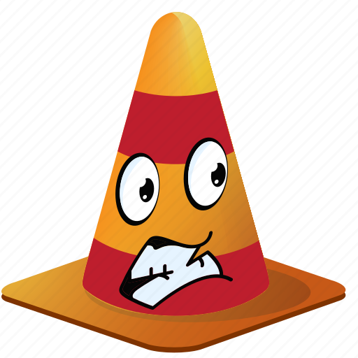 cartoon, cone, emoji, face, smiley, traffic icon