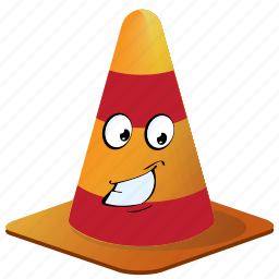 cartoon, cone, emoji, face, smiley, traffic icon