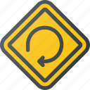 atention, degree, loop, road, sign, traffic