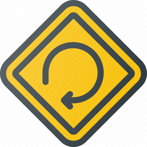 atention, degree, loop, road, sign, traffic icon