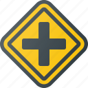 atention, crossroads, traffic, road, sign icon