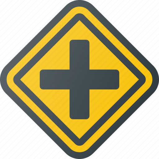 atention, crossroads, road, sign, traffic icon