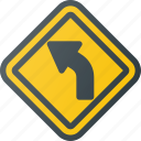 atention, curve, road, sign, traffic icon
