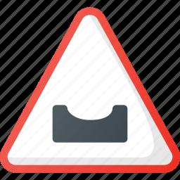 atention, dangeorous, dip, road, sign, traffic icon