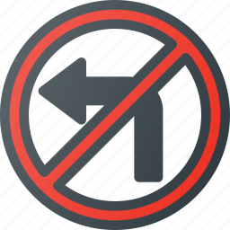 atention, left, no, road, sign, traffic icon