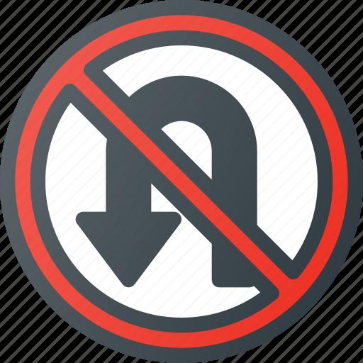 atention, no, road, sign, traffic, turn, u icon