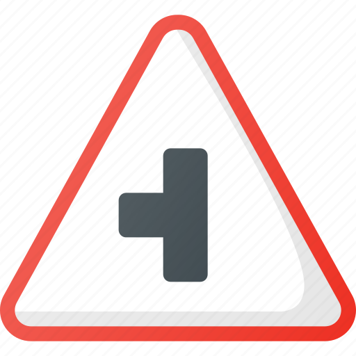 atention, left, road, sideroad, sign, traffic icon