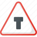 atention, intersection, road, sign, t, traffic icon
