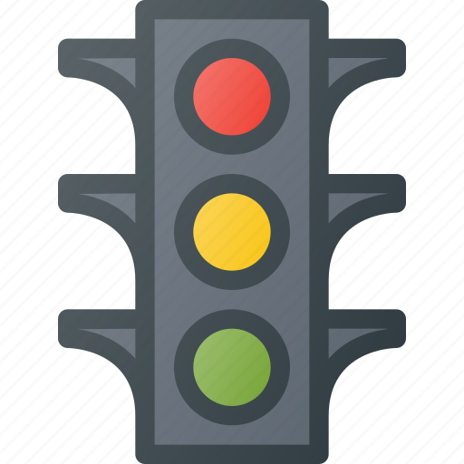 atention, lights, road, sign, traffic icon