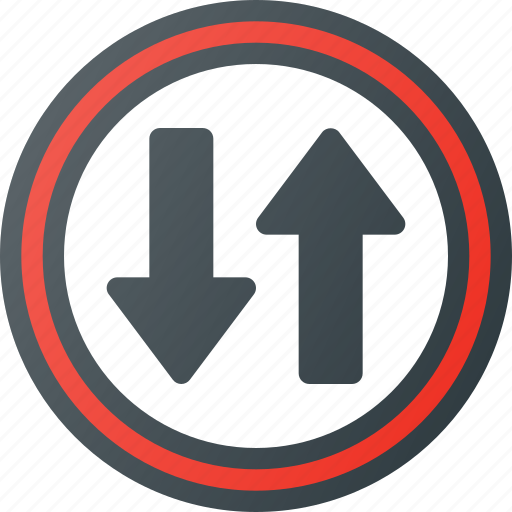 atention, road, sign, traffic, two, way icon