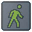 atention, sign, traffic, road, walk icon