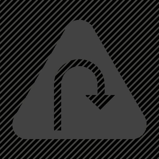 arrow, road, sign, turn, u, warning icon