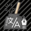 ink, inkpot, pen, translation icon