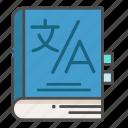 dictionary, language, translate, translating icon