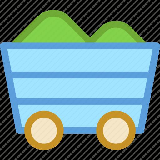 coal mine trolley, gold mine, mine cart, mine chariot, mining cart icon