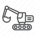 bulldozer, construction, digger, excavator, machine, transport, vehicle icon
