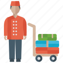 airport luggage, baggage cart, hotel luggage, luggage cart, luggage trolley icon