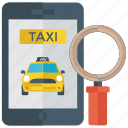 cab search, finding ride, taxi search, transport app, transport finding icon