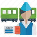 bus ticket, female conductor, ticket booth, ticket selling, ticketing icon
