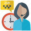 24 hour support, call center agent, customer representative, customer service, customer support, helpline icon