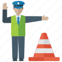 construction cone, road boundary, road cone, sergeant, traffic cone, traffic officer, traffic police
