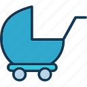 baby buggy, carriage, perambulator, pram icon