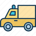delivery truck, lorry, shipping van, transport icon