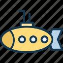 boat, ocean, ship, submarine icon