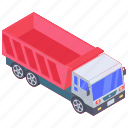 automobile, dump transport truck, dump truck, garbage truck, lorry, trash truck icon