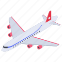 air transport, aircraft, airplane, plane, traveling plane, vehicle icon