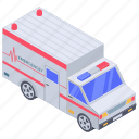 ambulance, automobile, conveyance, hospital emergency service, transport, vehicle icon