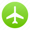 aeroplane, air, aircraft, airplane, flight, green, plane icon