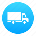 blue, delivery, logistics, lorry, package, truck, van icon