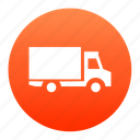 delivery, logistics, lorry, red, transport, truck, van icon
