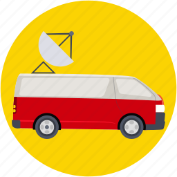 auto, broadcasting, dish, journalism, media vehicle icon