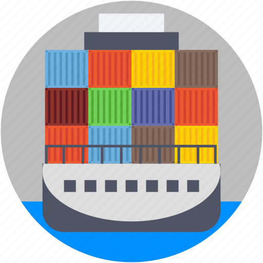 containers, logistics delivery, port, seaport, shipment icon