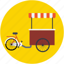 food bike, food stand, ice cream bike, ice cream cart, ice cream trolley icon