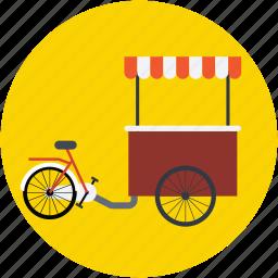 food bike, food stand, ice cream bike, ice cream cart, ice cream trolley icon