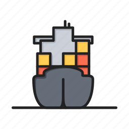 cargo, cargo ship, container, logistics, ship icon