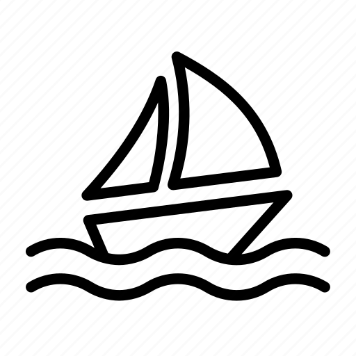 boat, ocean, sailboat, sea, ship, transport, vehicle, voyage, wave, waves icon