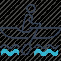 boat, men, river, transport icon