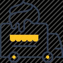 car, cream, ice, transport icon