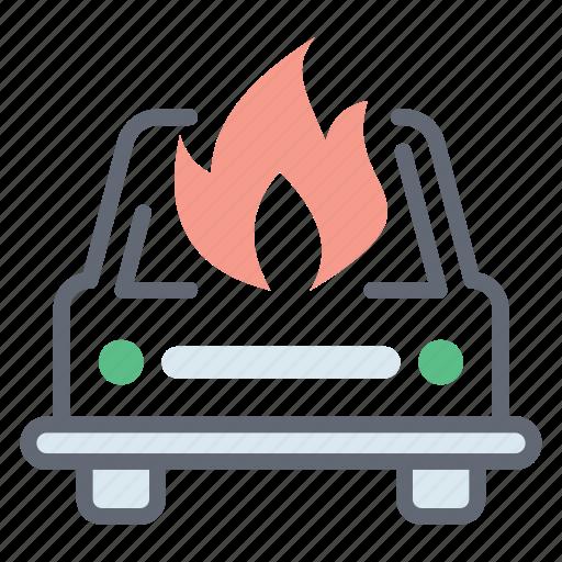 burning taxi, car accident, car burn, car crash, car damage icon