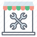 automotive shop, garage, repair shop, service shop, workshop icon