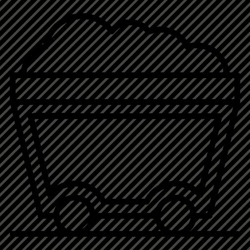 coal mine cart, coal trolley, construction cart, mining cart, mining trolley, pushcart icon