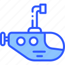 ocean, sea, submarine, underwater, water icon